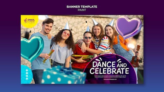 Sjabloon voor horizontale banner voor feestevenement