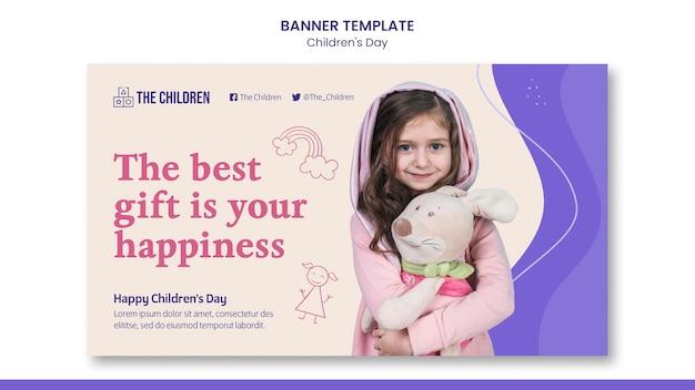 Sjabloon voor horizontale banner voor leuke kinderdag