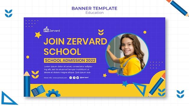 Sjabloon voor horizontale banner voor onderwijs