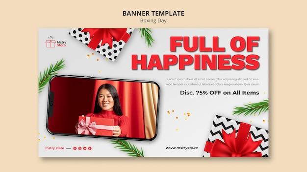 Sjabloon voor horizontale bannerverkoop op tweede kerstdag