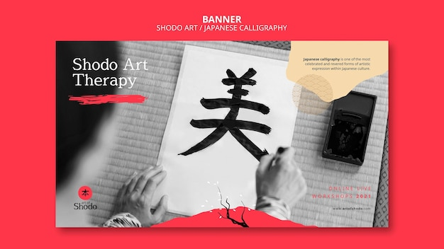 Sjabloon voor horizontale spandoek met vrouw die japanse shodo-kunst beoefent