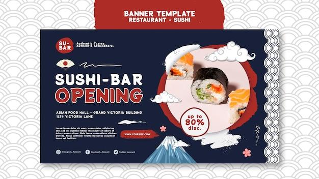 Sjabloon voor horizontale spandoek sushi