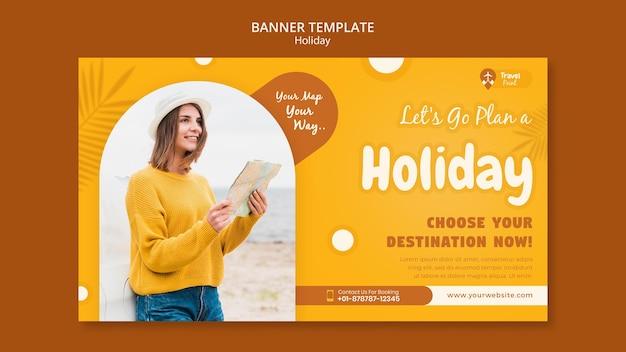 Sjabloon voor horizontale spandoek vakantie