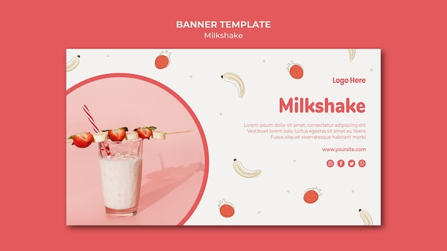 Sjabloon voor horizontale spandoek voor aardbei milkshake