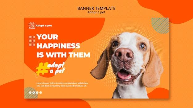 Sjabloon voor horizontale spandoek voor adoptie van huisdieren vanuit opvangcentrum