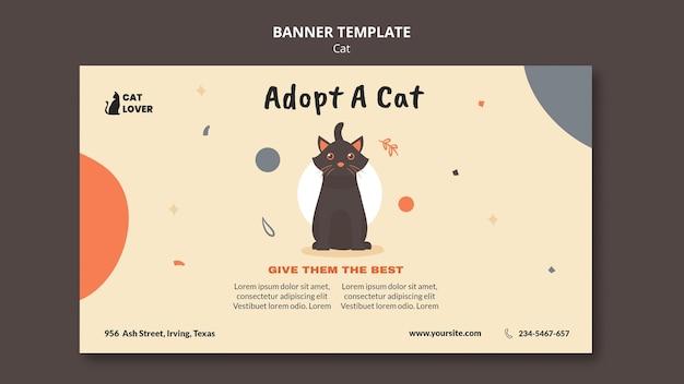 Sjabloon voor horizontale spandoek voor adoptie van katten