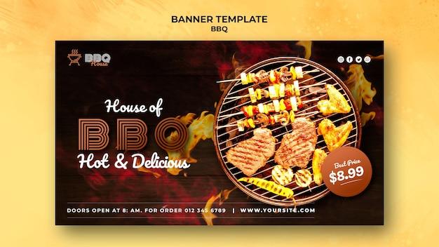 Sjabloon voor horizontale spandoek voor barbecue Gratis Psd