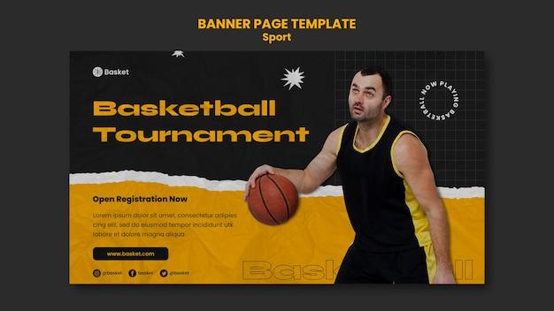 Sjabloon voor horizontale spandoek voor basketbalspel met mannelijke speler