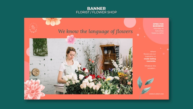 Sjabloon voor horizontale spandoek voor bloemenwinkelzaken