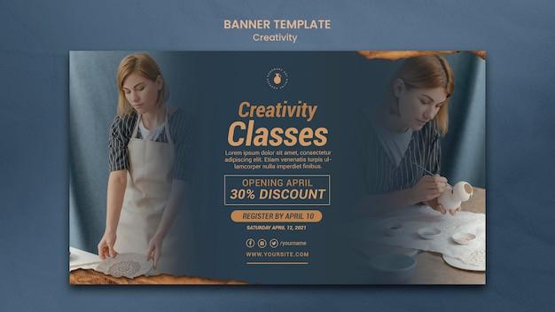 Sjabloon voor horizontale spandoek voor creatieve aardewerkworkshop met vrouw