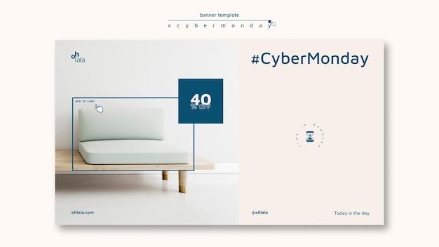 Sjabloon voor horizontale spandoek voor cyber maandag winkelen