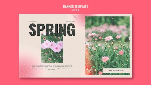 Sjabloon voor horizontale spandoek voor de lente met bloemen