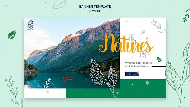 Sjabloon voor horizontale spandoek voor de natuur met het landschap van het wilde leven Gratis Psd