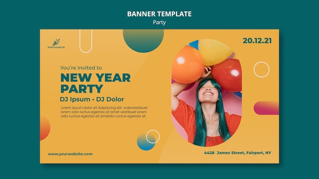 Sjabloon voor horizontale spandoek voor feest met vrouw en ballonnen