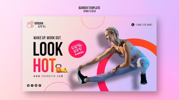 Sjabloon voor horizontale spandoek voor fitness en lichaamsbeweging
