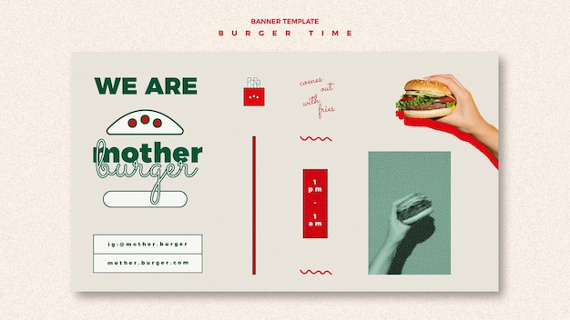Sjabloon voor horizontale spandoek voor hamburgerrestaurant