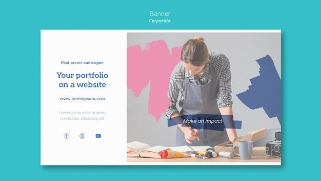 Sjabloon voor horizontale spandoek voor het schilderen van portfolio op website
