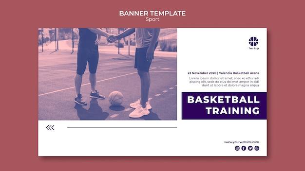 Sjabloon voor horizontale spandoek voor het spelen van basketbal