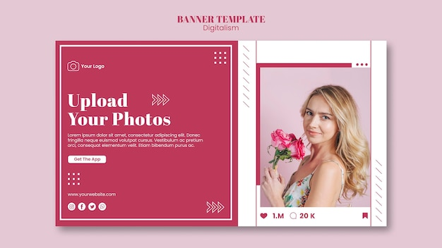 Sjabloon voor horizontale spandoek voor het uploaden van foto's op sociale media