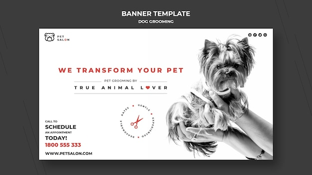 Sjabloon voor horizontale spandoek voor het verzorgen van huisdieren