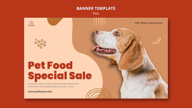Sjabloon voor horizontale spandoek voor huisdieren met schattige hond