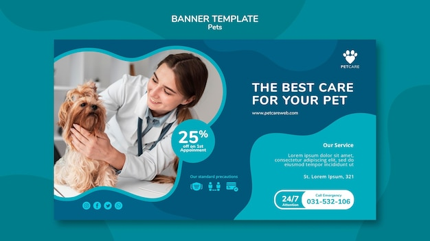 Sjabloon voor horizontale spandoek voor huisdierenverzorging met vrouwelijke dierenarts en yorkshire terrier-hond