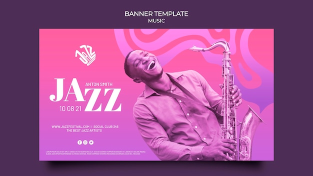 Sjabloon voor horizontale spandoek voor jazzfestival en club