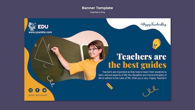 Sjabloon voor horizontale spandoek voor lerarendag
