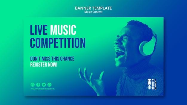 Sjabloon voor horizontale spandoek voor live muziekwedstrijd met artiest