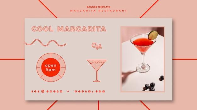 Sjabloon voor horizontale spandoek voor margarita cocktaildrank