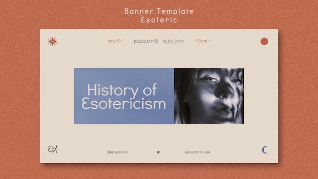 Sjabloon voor horizontale spandoek voor mystiek en esoterie