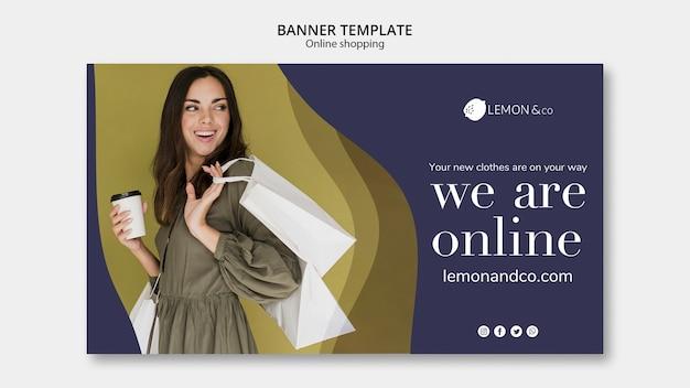 Sjabloon voor horizontale spandoek voor online mode verkoop