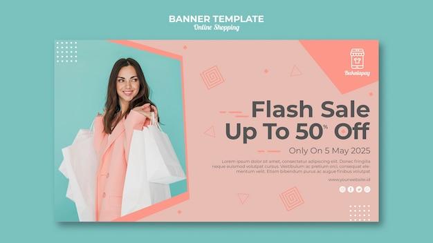 Sjabloon voor horizontale spandoek voor online winkelen met verkoop