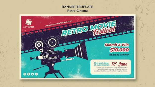 Sjabloon voor horizontale spandoek voor retro bioscoop