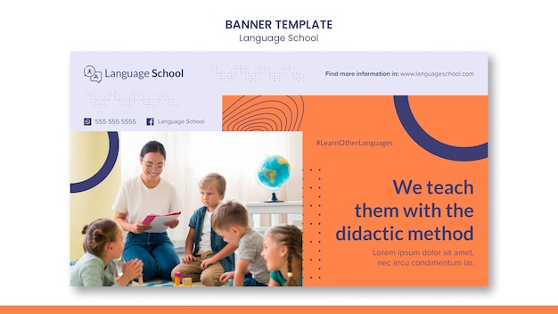 Sjabloon voor horizontale spandoek voor taalschool