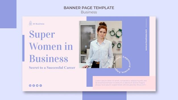 Sjabloon voor horizontale spandoek voor vrouwen in het bedrijfsleven