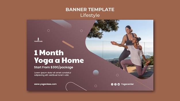 Sjabloon voor horizontale spandoek voor yoga praktijk en oefening