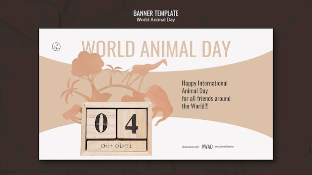 Sjabloon voor horizontale spandoek werelddierendag