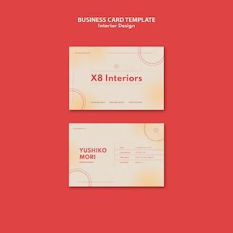 Sjabloon voor horizontale visitekaartjes voor interieurontwerp