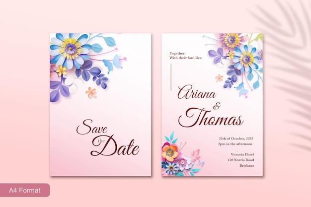 Sjabloon voor huwelijksuitnodiging met bloem in papierstijl