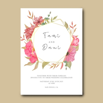 Sjabloon voor huwelijksuitnodiging met bloemen waterverfschilderij