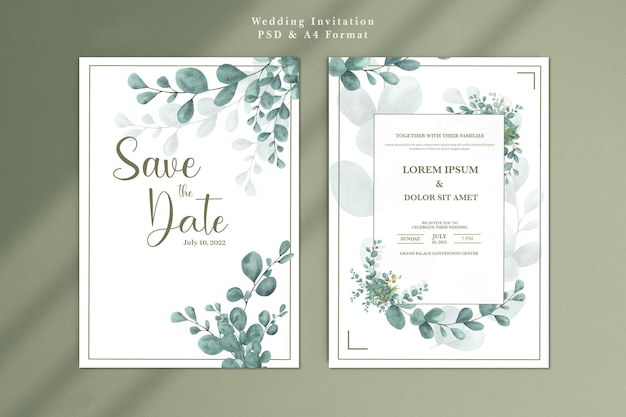 Sjabloon voor huwelijksuitnodiging met eucalyptus