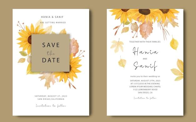 Sjabloon voor huwelijksuitnodigingen met aquarel zonnebloemen en herfstbladeren