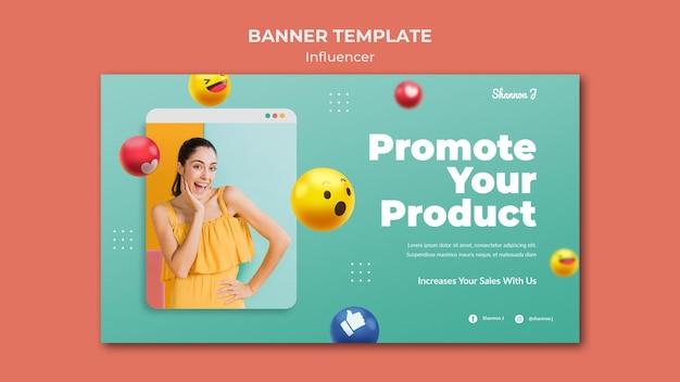 Sjabloon voor influencer horizontale banner