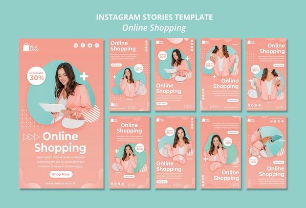 Sjabloon voor instagramverhalen met online boodschappen