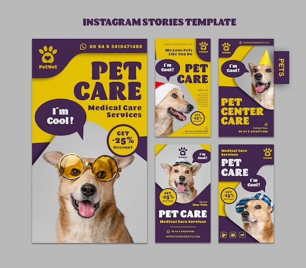 Sjabloon voor instagramverhalen voor dierenverzorging