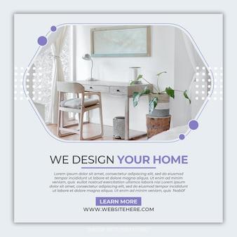 Sjabloon voor interieurmeubilair instagram-banner