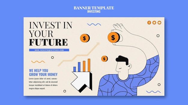Sjabloon voor investeringsbanner geïllustreerd