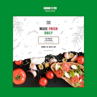 Sjabloon voor italiaans eten bedrijf vierkante flyer