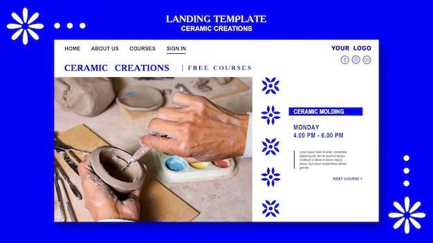 Sjabloon voor keramische creaties op de bestemmingspagina